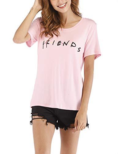Cuihur Women's Friends Shirts Short Sleeve Summer T-Shirt Loose Tops Blouse Pink XL