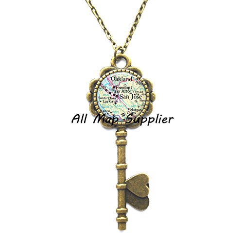 Charming Key Necklace,San Jose map Key Pendant, San Jose Key Pendant, San Jose map Key Necklace, San Jose Key Necklace, map jewelry map jewellery,AO311]()