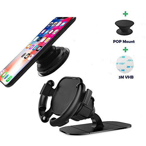 Car Phone Mount, 360° Rotation Dashboard Sticker Holder with Adjustable Switch Lock for GPS Navigation Compatible with All Smartphones
