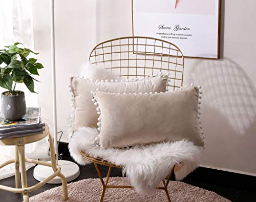 Beige Pillow - Fabthing Throw Pillows Covers Cushion Covers Velvet Solid Color Ball Soft Sofa Chair Home Decorative Set of 2,12x20 Inch Beige