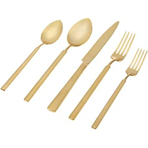 "Herdmar""Vintage Brushed Gold"" 18/10 Stainless Steel 5-Piece Place Setting"