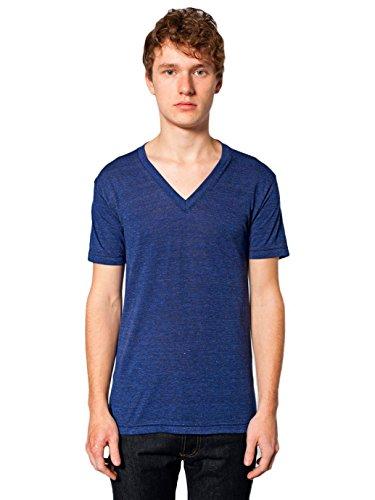 American Apparel V-neck Shirt - American Apparel Unisex Tri-Blend Short Sleeve V-Neck, Tri/Indigo, X-Large