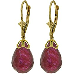 14K Yellow Gold Natural Briolette Ruby Drop Dangle Earrings