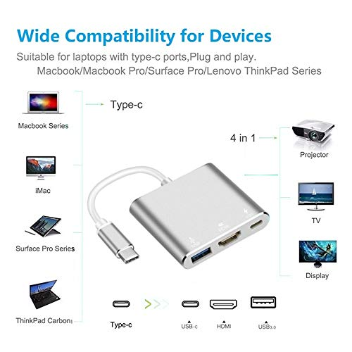 USB-C to HDMI Adapter,321OU USB 3.1 Type C to HDMI 4K Multiport AV Converter with USB 3.0 Port and USB C Charging Port compatible MacBook/Chromebook Pixel/Dell XPS13/Samsung Galaxy s8/s8 Plus (Silver)