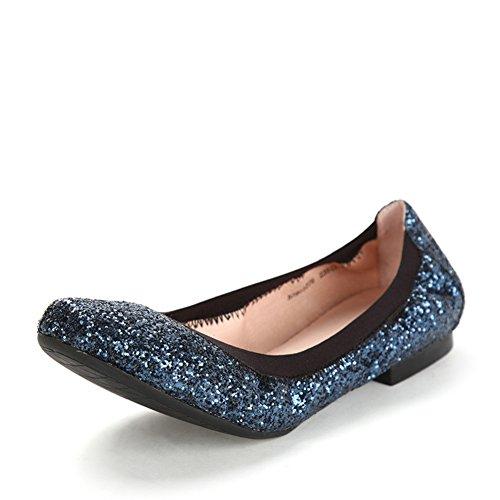 Primavera zapatos de remolinos de los cequis/Zapatos poco profundos de baja/Zapatos de mujer planos Azul