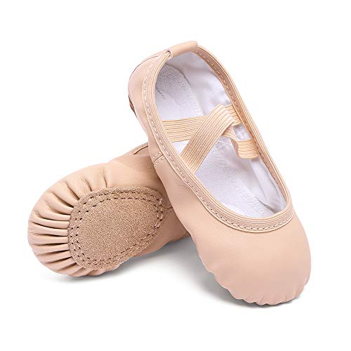 Cute stars Leather Ballet Dance Slippers Shoes for Girls/Kids/Toddlers(8MT,Ballet Pink)