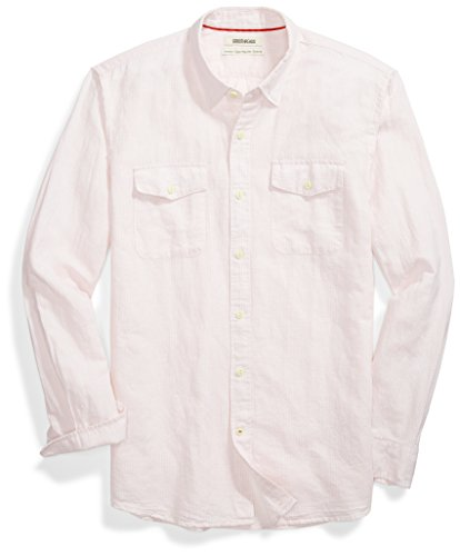(Goodthreads Men's Standard-Fit Long-Sleeve Linen and Cotton Blend Shirt, Pink Houndstooth Check, Medium)