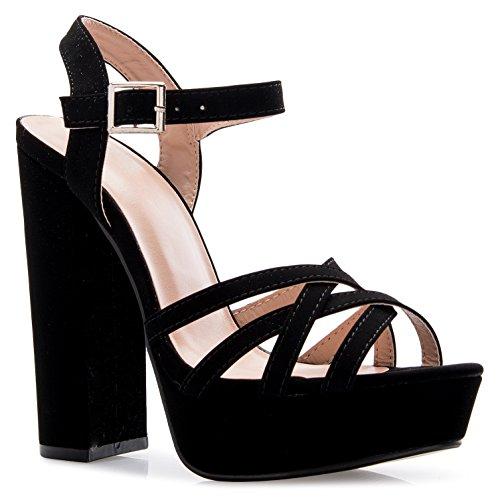 OLIVIA K Womens Platform Ankle Strap High Heel - Peep Toe Sandal Pump - Formal Chunky Dress Heel