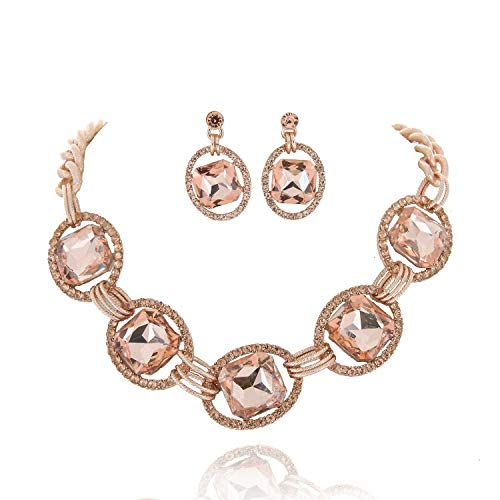 SP Sophia Collection Austrian Crystal Women's Chunky Chain Necklace and Earrings Jewelry Set Gold - Necklace Peach Crystal