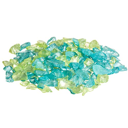 Sea Glass Chips | Lime and Aqua | Pearlized Sea Glass Pieces | Bulk Colored Sea Glass Chip Mix for Craft and Decor (10 Ounces) | Plus Free Nautical Ebook by Joseph Rains