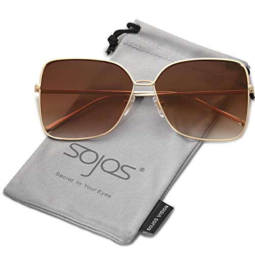 Gradient Frame Lens (SOJOS Fashion Oversized Square Sunglasses for Women Flat Mirrored Lens SJ1082 with Gold Frame/Gradient Brown Lens)