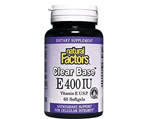 Natural Factors - ClearBase Vitamin E 400 IU, High Potency, Naturally Sourced Vitamin E, 60 Soft Gels