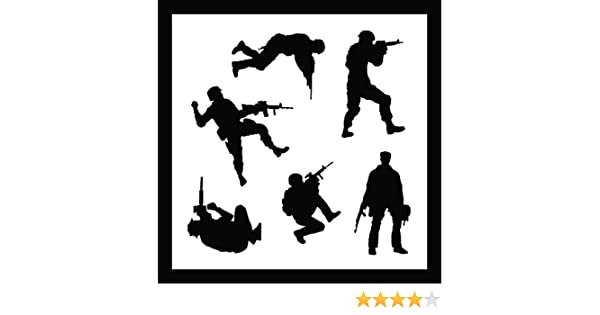 Piece Kit 1 Detailed Military Soldiers Stencil Set 10-by-10-inch Sheet - Includes Standing /& Crouching Silhouettes! Single Sheet Auto Vynamics STENCIL-SOLDIERS01-10