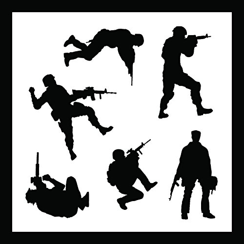 Auto Vynamics - STENCIL-SOLDIERS01-10 - Detailed Military Soldiers Stencil Set - Includes Standing & Crouching Silhouettes! - 10-by-10-inch Sheet - (1) Piece Kit - Single Sheet - Info Spec Sheet
