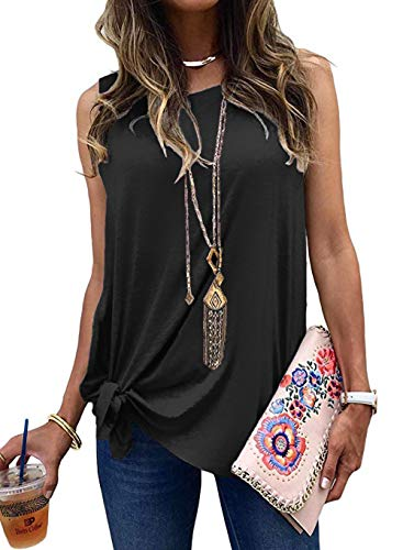 (Allimy Women Summer Knot Front Tank Tops Casual Loose Sleeveless Blouses Shirts Small Black )