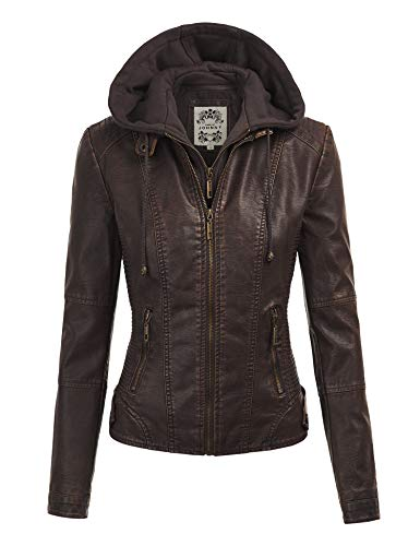 Made By Johnny MBJ WJC1044 Womens Faux Leather Quilted Motorcycle Jacket with Hoodie XXL ()