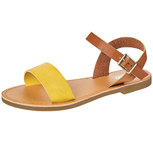 Women's Shoe Comfort Simple Basic Ankle Strap Flat Sandals (7.5, ()