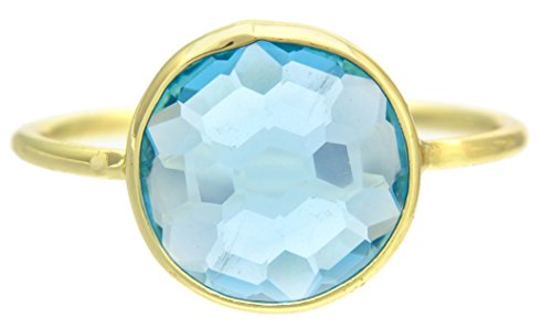Blue Quartz 18k Gold Clad Wholesale Gemstone Round Ring (Size 7) - Blue Quartz Ring