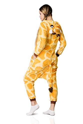 Nothing But Love Adult Giraffe Onesie Pajamas Kigurumi Animal Cosplay Costume One Piece Fleece Pjs (M, Yellow, White) by Nothing But Love (Image #3)