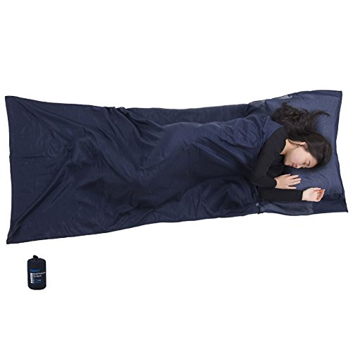 Sleeping Bag Liner, Traveler with Pillow Insert, Super Soft & Lightweight Camping Sleep Sack, Travel Sheet for Hotels (Liners Cocoon Cotton Travel Sheet)