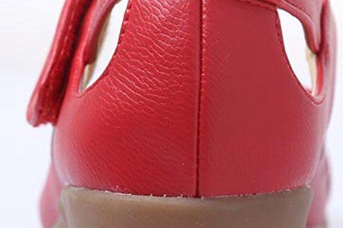 Abby 316 Femmes Salle De Bal Rumba Latin Fermé Bout Rond Coin Mi-talon Confortable Respirant Creux Moderne Mary Jane Chaussures De Danse Rouge
