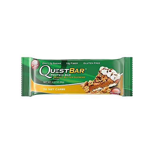 Price comparison product image Quest Nutrition Protein Bar,  Peanut Butter Supreme,  20g Protein,  5g Net Carbs,  210 Cals,  High Protein Bars,  Low Carb Bars,  Gluten Free,  Soy Free,  2.1 oz Bar,  12 Count