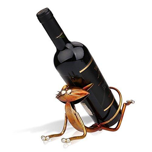 Tooarts Yoga Cat Metal Sculpture Wine Bottle Rack Holder Handwork Crafts by Tooarts