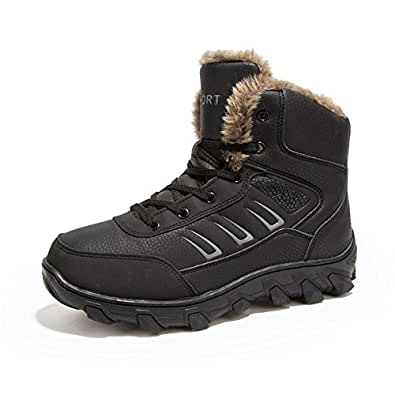 PEALAND Mens Hiking Boots for Winter with Fur Lined Warm Shoes Black Size: 8