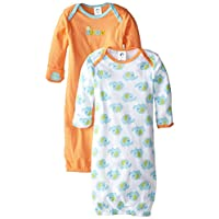 Gerber Unisex-Baby Lap Shoulder Gown, Elephant, 0-6 Months (Pack of 2)