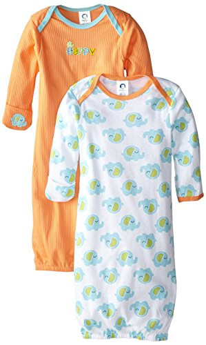 Gerber Unisex-Baby Lap Shoulder Gown, Elephant, 0-6 Months (Pack of 2)