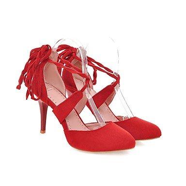 Talones de las mujeres Primavera Verano Otoño Otros Fleece oficina y carrera Fiesta y Noche Tacón de Aguja vestido con cordones Negro Azul Rosa Gris Rojo Pink