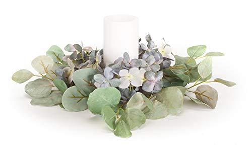 (The Bridge Collection Artificial Hydrangea & Eucalyptus Candle Ring Wreath, 14