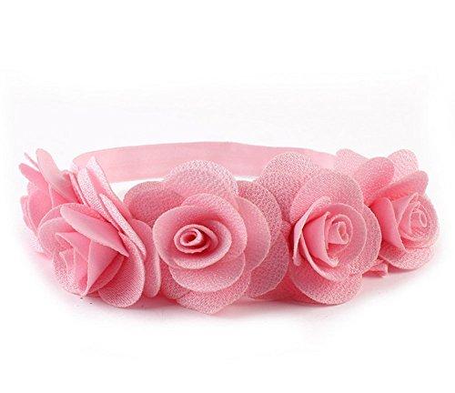 Rose Flower Crown Garland Festival Wedding Hair Wreaths Headbands with Adjustable Ribbon (pink)