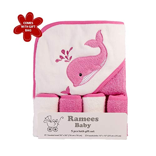 Ramees Baby Hooded Towel and Washcloths Bath Set, 5 Pack, Pink Whale ()