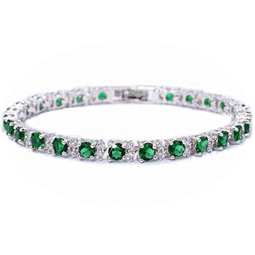 Round Simulated Green Emerald and White Cubic Zirconia 18K White gold Plated Tennis Bracelet, 7