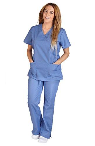 M&M Scrubs Women Mock Wrap/Flare Pant Set Medical Scrub Set XXL Ceil Blue