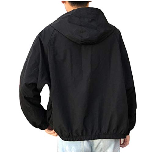 Black Plus Size Men's Pockets Mogogo Casual Rock Up Hoodie Punk Coats Zip PUawTqw1f