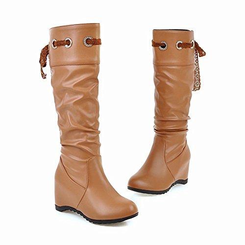 Charm Foot Womens Fashion Hidden Heel Lace High Heel Knee High Boots Dark Yellow ks8jQ