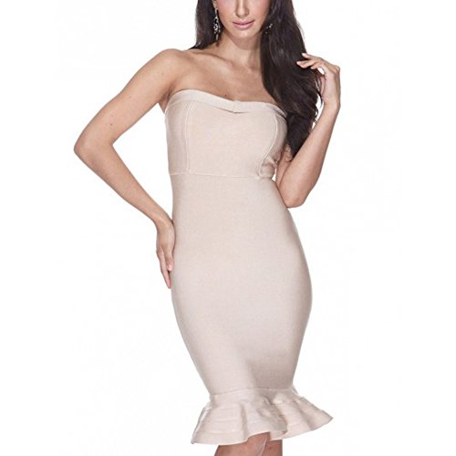 HLBandage Women Strapless Mermaid Fishtail Rayon Bandage Dress Beige