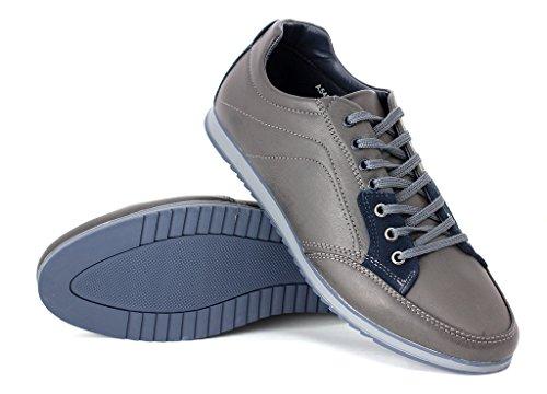Hombre De Lona Casual Zapatillas Con Cordones Correr Caminar zapatillas RU 6 7 8 9 10 11 Gris/Azul marino