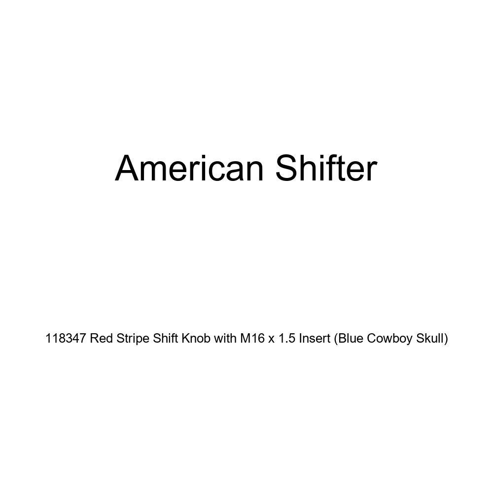 American Shifter 118347 Red Stripe Shift Knob with M16 x 1.5 Insert Blue Cowboy Skull
