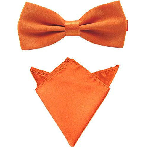 Orange Bowties (Men Satin Solid Color Pre-tied Tuxedo Bowtie Bow Tie Handkerchief Pocket Square Set (Orange))