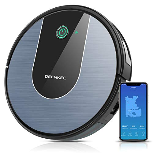 DeenKee DK700 Robot Vacuum, Wi-Fi,App Control, 1400Pa High Suction, 2.9 inch Super-Thin, 6 Cleaning Modes, Quiet, Work with Alxea, Robotic Vacuum Cleaner for Pet Hair, Hard Floor, Carpet