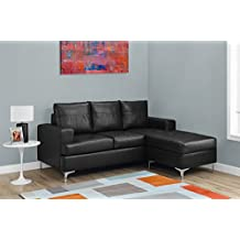 Monarch Specialties Sofa Lounger - black Bonded Leather