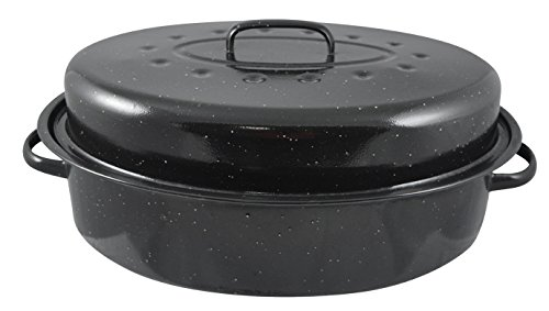 Home Basics Non-Stick Carbon Steel Roaster with Lid And Dual Handles, Black