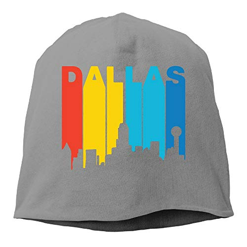 TLPM9LKMBM Retro 1970's Style Dallas Texas Skyline Beanie Skull Cap for Women and Men - Winter Warm Daily Hat -