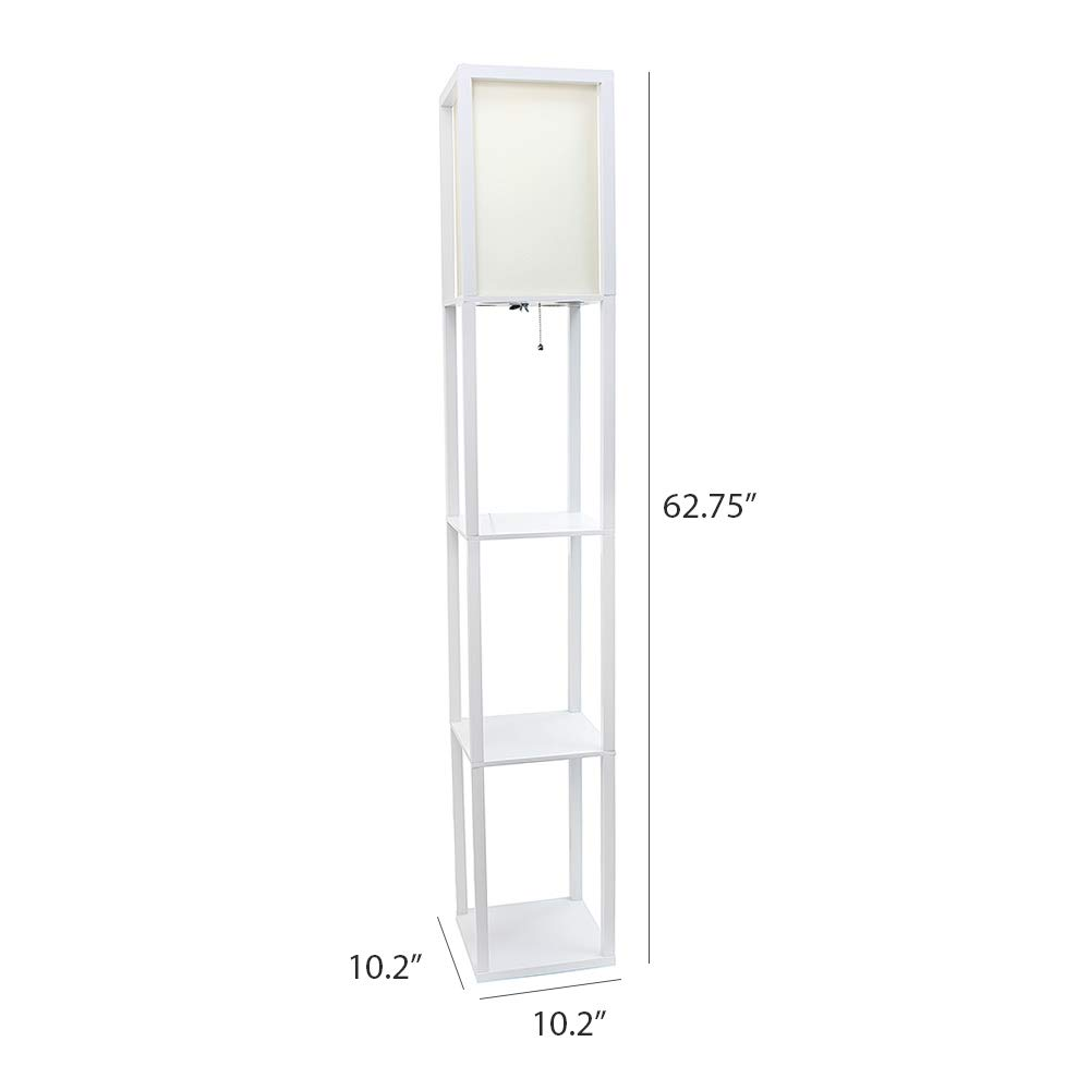 Simple Designs LF1014-WHT Floor Lamp Etagere Organizer Storage Shelf with Linen Shade, White by Simple Designs Home (Image #5)