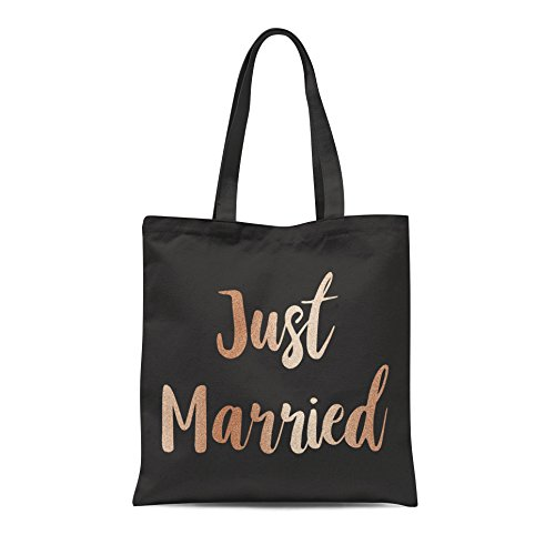 Just Married Printed Tote Shopping Bag Wedding Bride Groom Honeymoon Party Gift Black With Rose Gold Print