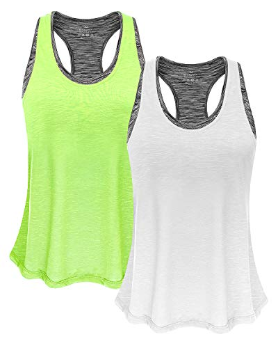 Women Tank Top with Built in Bra, Lightweight Yoga Camisole for Workout Gym Fitness(Fluorescent Green & White, S) ()
