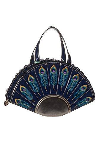 Retro Midnight Feathers Womens 50s Peacock Blue Vintage Dancing Handbag Days 8qw4PP